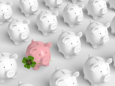 Piggy bank - grid with pink pig with clover