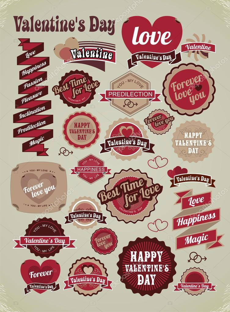 valentines day labels tags decorative items stock vector