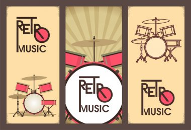 Retro music banner set