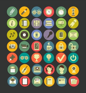 Web icon set of flat Number 42 is excellent for use in web design and infographics stock vector