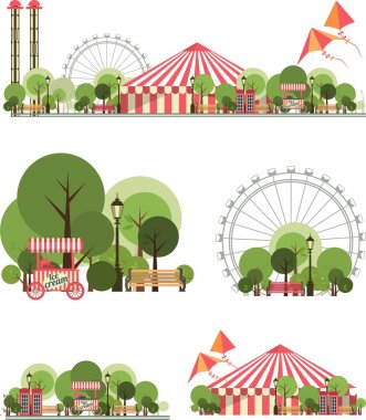 Vector holiday background with karnvalom and amusement park stock vector