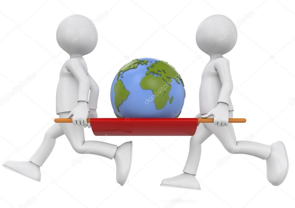 two people carrying the earth stock photo rugercm 33681653