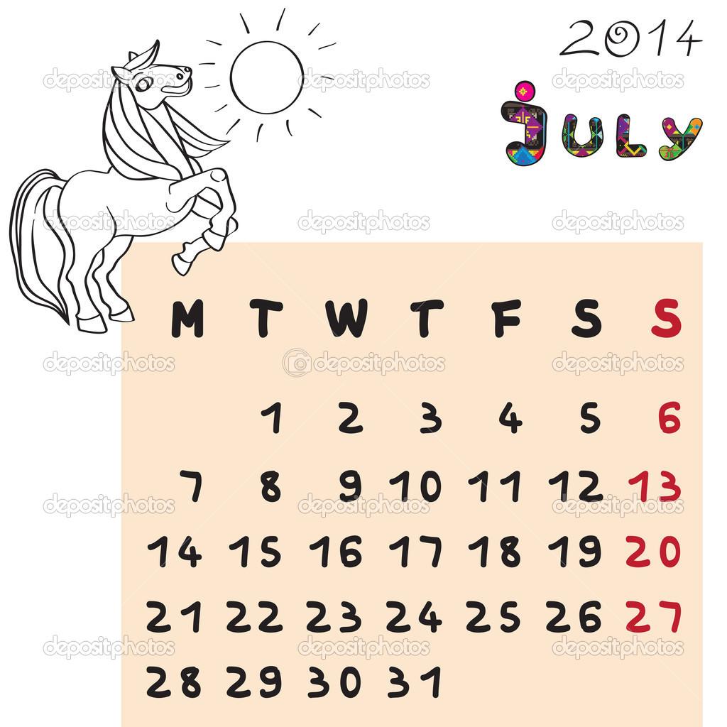 calendario Julio 2014 de caballo — Foto de stock © richcat #36193023