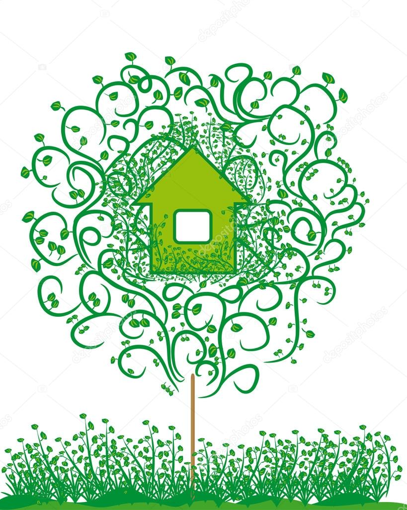 ecology emblem. harmless house.
