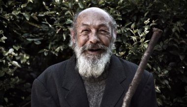 Happy old homeless