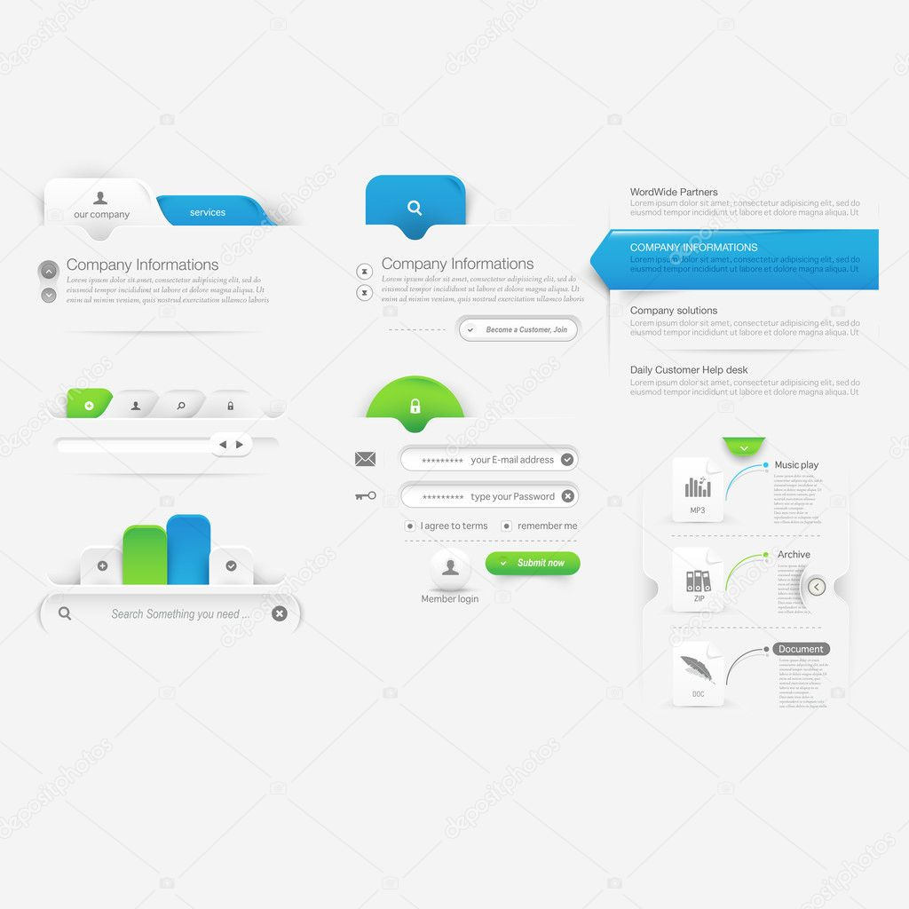 Website template infographic design menu navigation elements with business website template infographic design menu navigation elements with icons set vector by liquidlayout ccuart Images