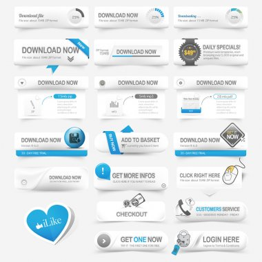 Web design template elements: Navigation buttons with ornament elements and icons set