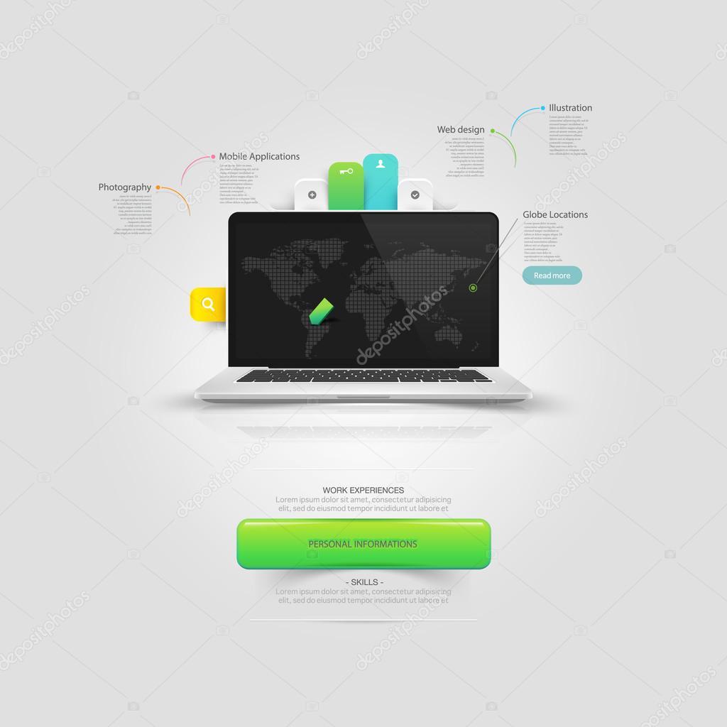 Website-Design-Vorlage-Elemente: Mock-up Vcard Vorlage mit Notebook ...