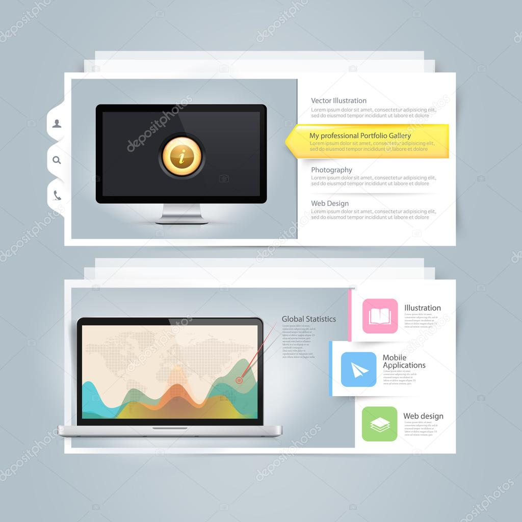 Website design infographics elements: Vcard portfolio template with ...
