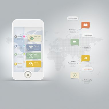 Infographics Design kit UI Elements with timeline and icons set