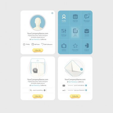 Collection of colorful flat kit UI navigation elements with icons for personal portfolio website templates