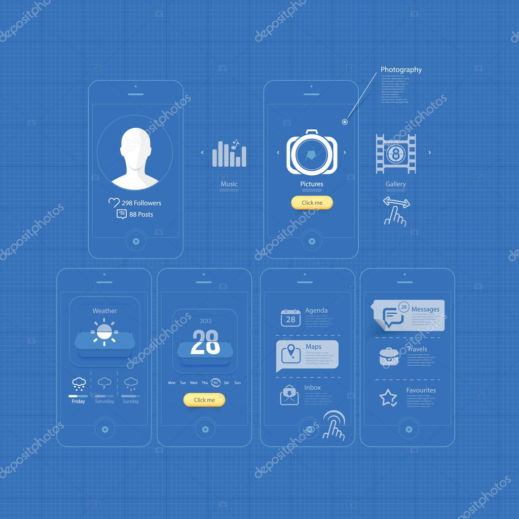 Infographics design ui elements mobile gui blueprints stock collection of colorful flat kit ui navigation elements with icons for personal portfolio website templates photo by liquidlayout malvernweather Image collections