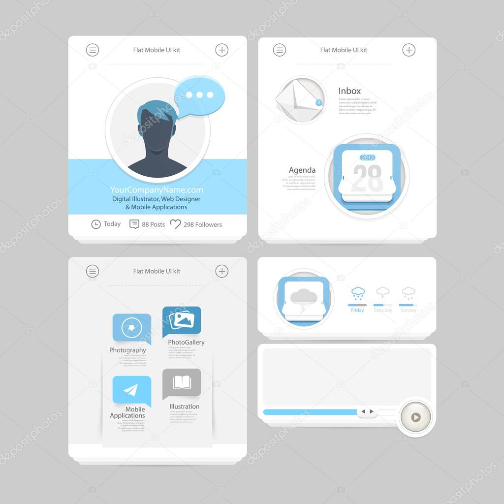 Collection of colorful flat kit UI navigation kit elements with icons for personal portfolio website and mobile templates
