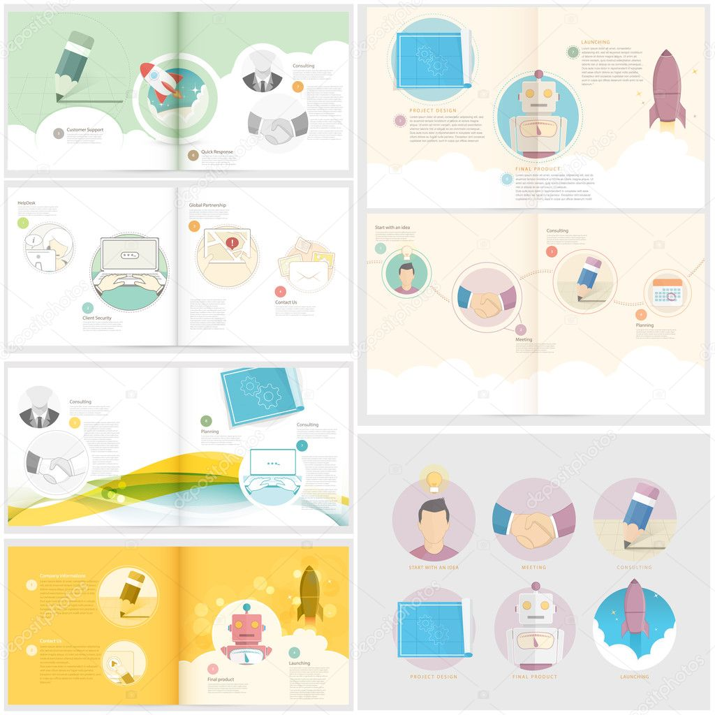 Collection: Set of Brochure template with concept icons