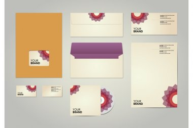 Corporate identity kit or business kit with artistic, abstract floral element for your business includes CD Cover, Business Card, Envelope and Letter Head Designs