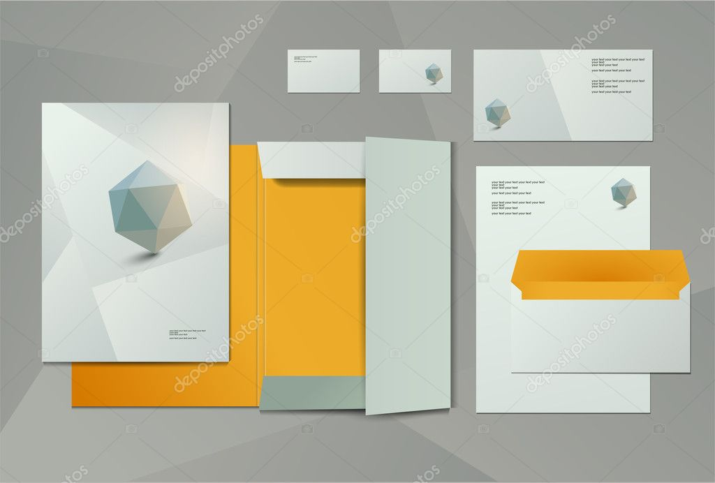 Corporate identity kit or business kit for your business includes Business Card, Envelope and Folder for documents