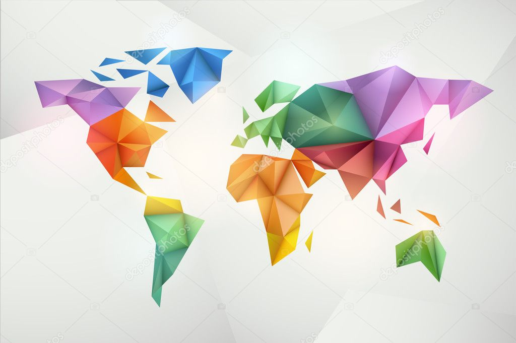 World map background in origami style. Vector background. Eps 10