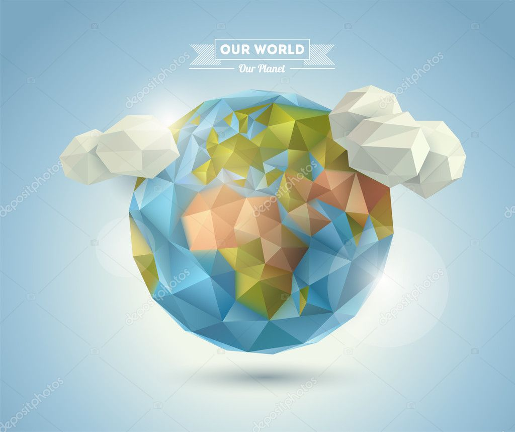 World background in origami style. Vector background. Eps 10