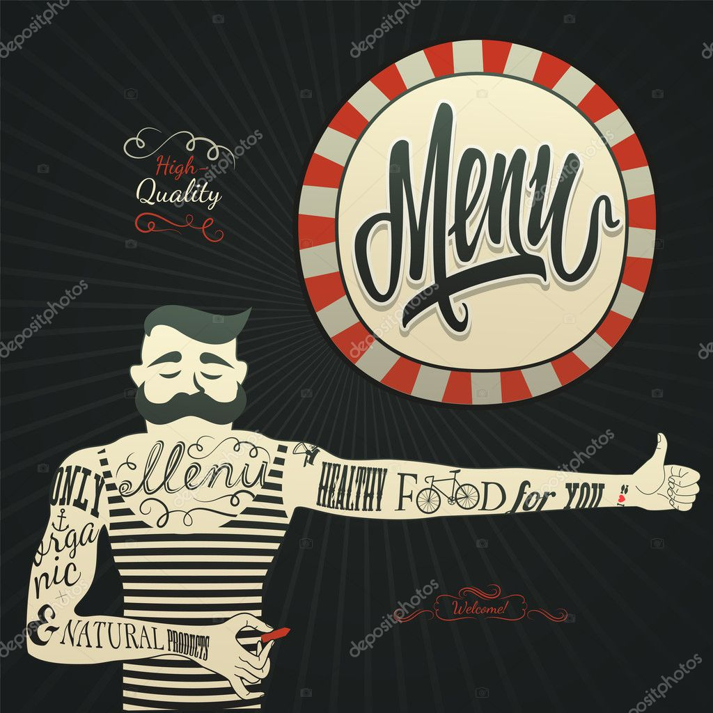Vintage graphic element for menu