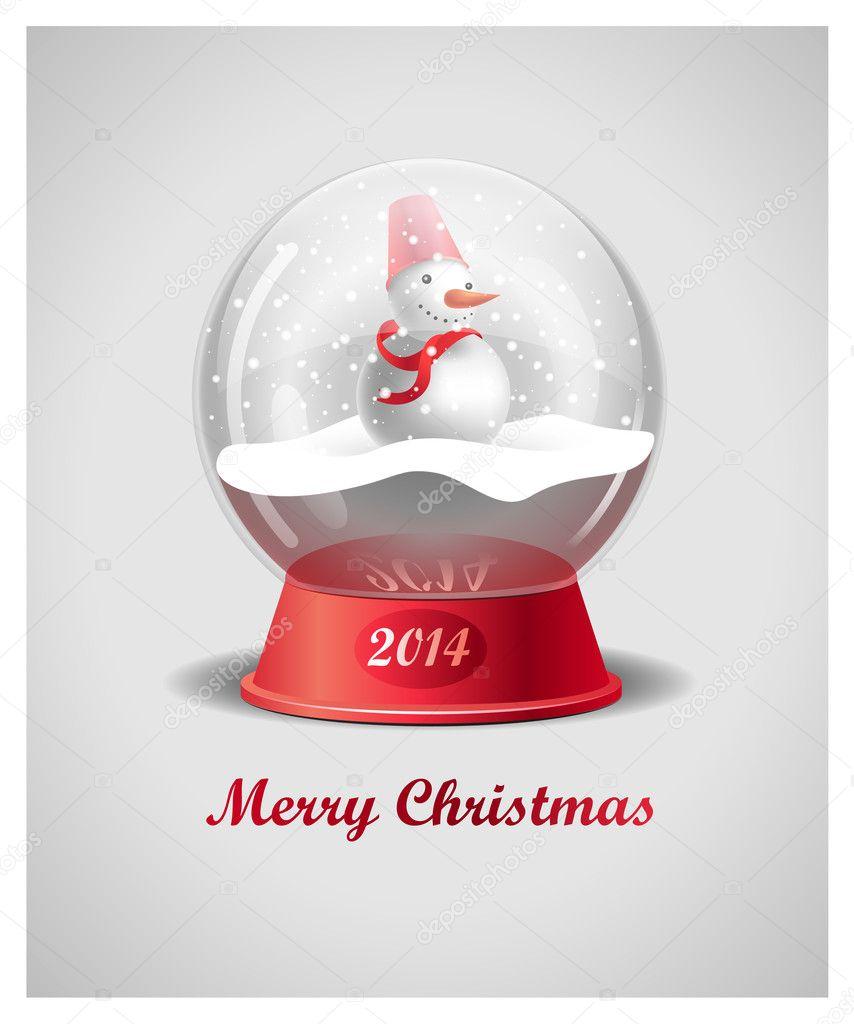 Christmas Snow Globe With Snowman