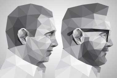 Portrait of two men in the style of origami clip art vector