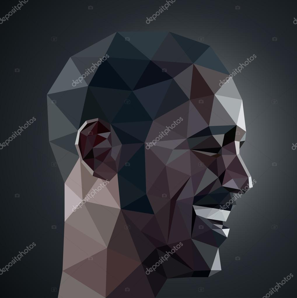 Profile Of Smiling Man In Origami Style Stock Vector