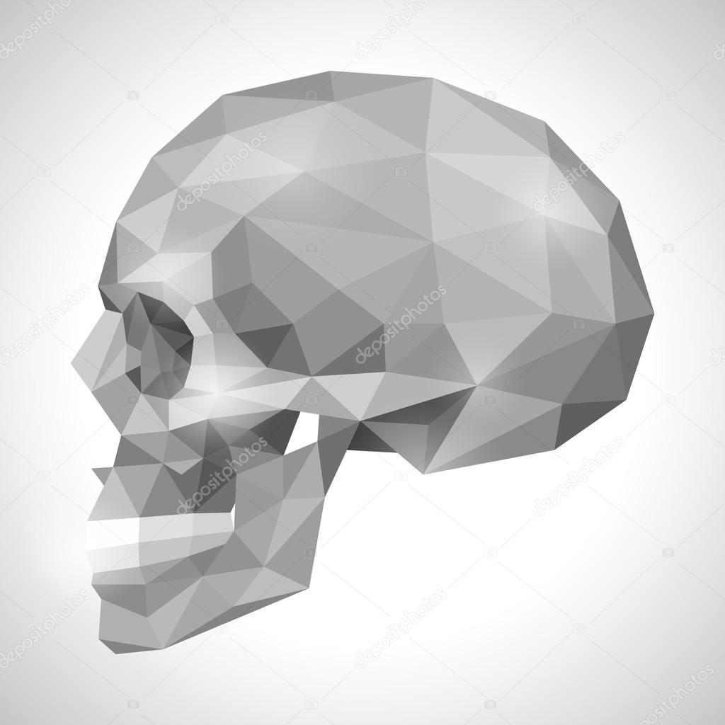 Human Skull In Origami Style Stock Vector