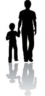 Clip Art Illustration of a Man and His Son in Silhouette