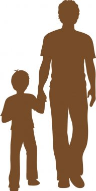 Clip Art Illustration of a Silhouette of a Boy Walking with His Big Brother