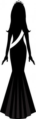 Clip Art Illustration of Silhouette of a Beauty Pageant Winner