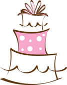 Clipart Illustration of a Stylized Layer Cake in Pink and Brown