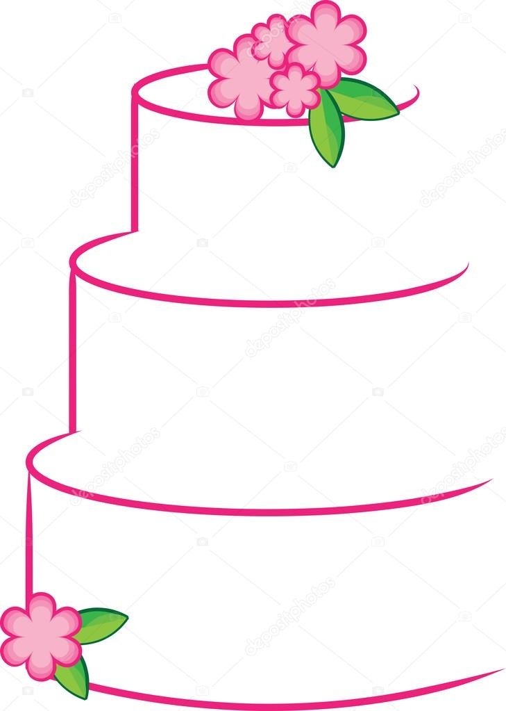 Free Clip Art Layer Cake : Clipart Illustration of a White and Pink Stylized Layer ...