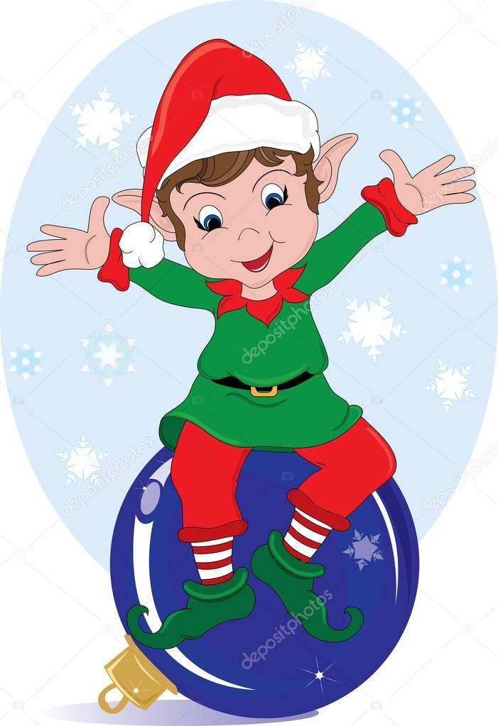 ClipArt Illustration ein Weihnachts-Elf sitzen auf einem Ornament-w ...