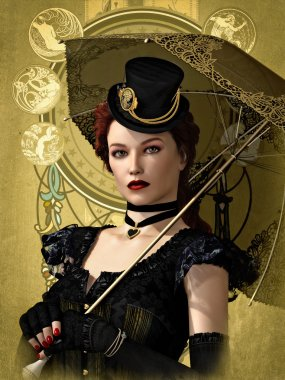Lady in Black, 3d CG