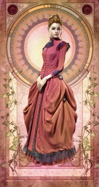 Pink Belle Epoque Gown, 3d CG