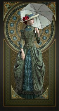Green Belle Epoque Gown, 3d CG