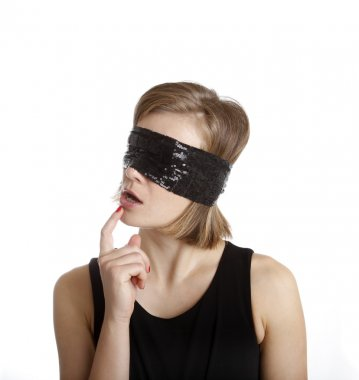 Young woman blindfolded