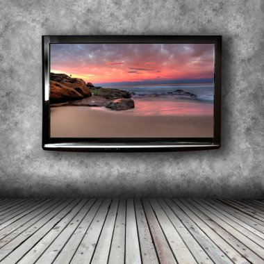 Plasma TV on the wall of the room with wooden floor stock vector