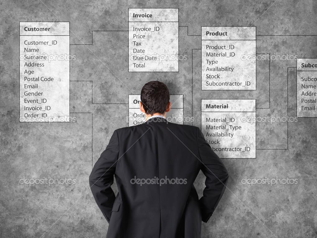 Datenbank-Hintergrund mit Kaufmann — Stockfoto © semisatch #46976059
