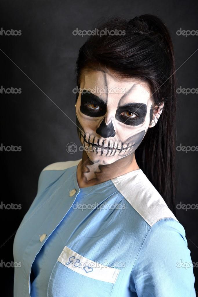 ölü Maske Kafatası Boyama Ile Hemşire Stok Foto Muro 22367607