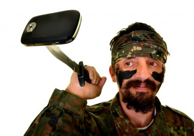 Man Soldier with broken cell phone