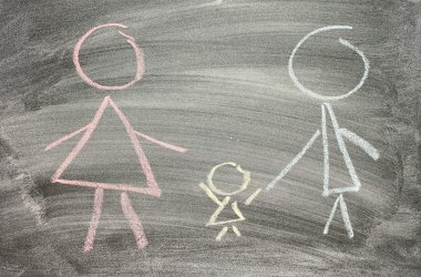 Drawing of family on blackboard