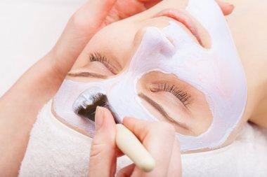 Applying facial mask at woman face at beauty salon stock vector