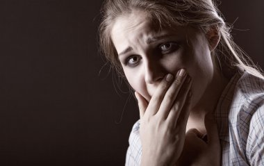 Woman desperately crying