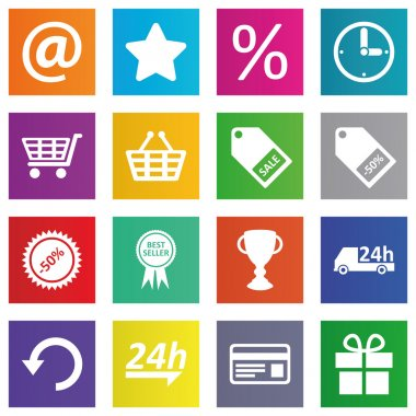 Business, e-commerce, web and shopping icons set in metro style