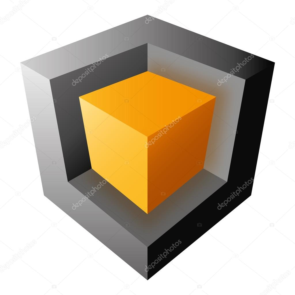 Colorful vector cube design, isolatedon white background