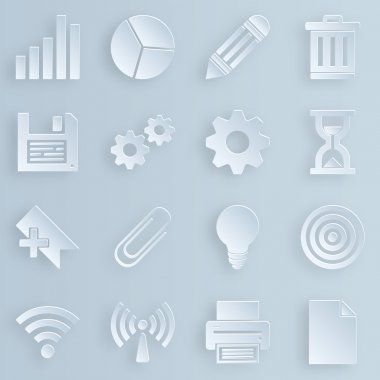 Business, technology, e-commerce, web and shopping icons set paper style