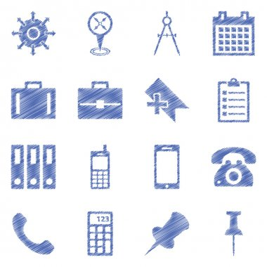 Business, technology, e-commerce, web and shopping ballpen drawn icons set paper style