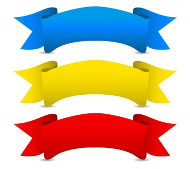Blue yellow red Vector ribbons - Scroll banners