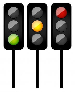 Traffic lights, signals. simple traffic, drive icons.